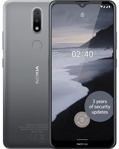 A Nokia 2.4 in Charcoal colour front and back hero view.