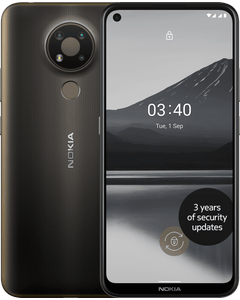Nokia 3.4 in Charcoal colour front and back hero view.
