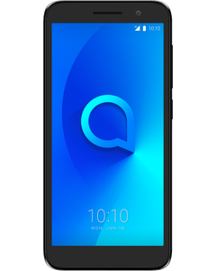 A Alcatel 1 in Black from a front angled view.