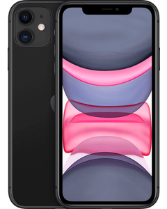 A iPhone 11 in Black from a front angled view.