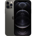 iPhone 12 Pro in Graphite from a front and back angled view.