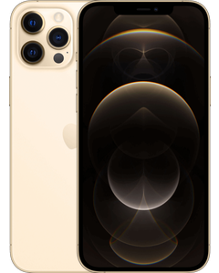iPhone 12 Pro Max in Gold from a front and back angled view.