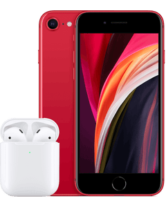 A iPhone SE (2020) in White from a front angled view.