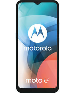 Motorola Moto E7 in Bluebird from a front right angled view.