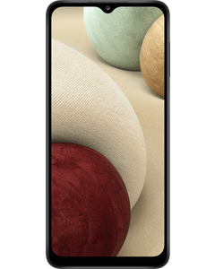 Samsung Galaxy A12 in Black from front left angle.